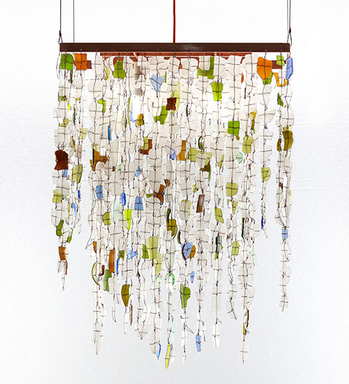 Recycled glass chandelier